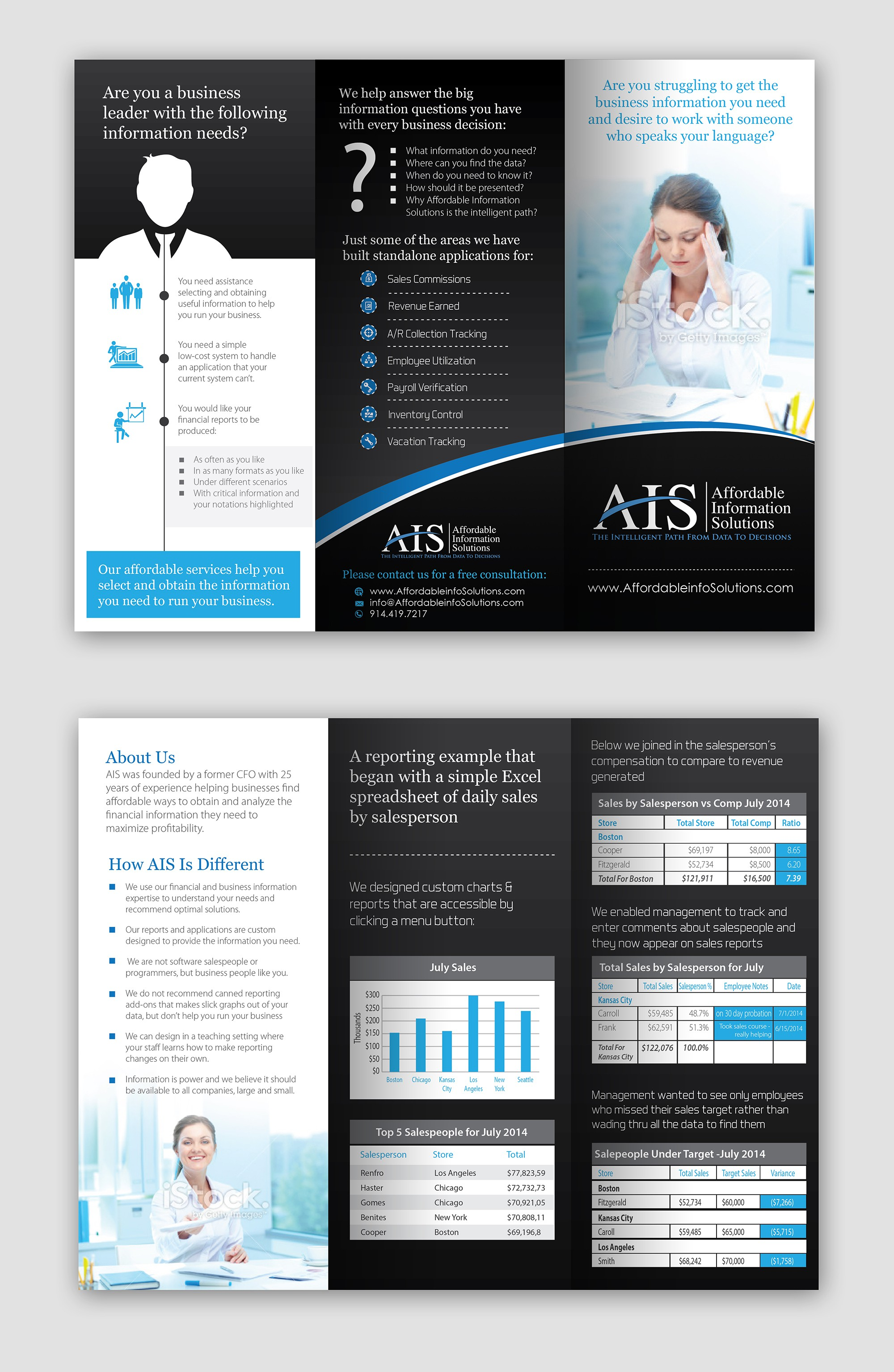 Create a brochure for a company I am trying to start - Affordable Information Solutions