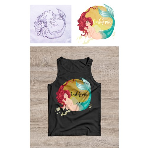 design of mermaid illustrations for t-shirts.