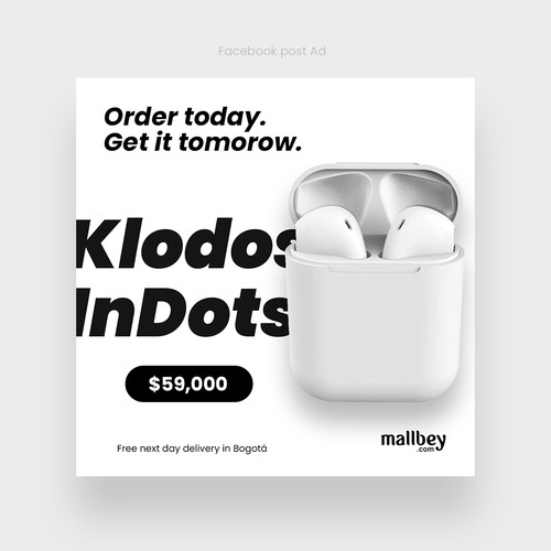 Facebook ad for wireless headphones