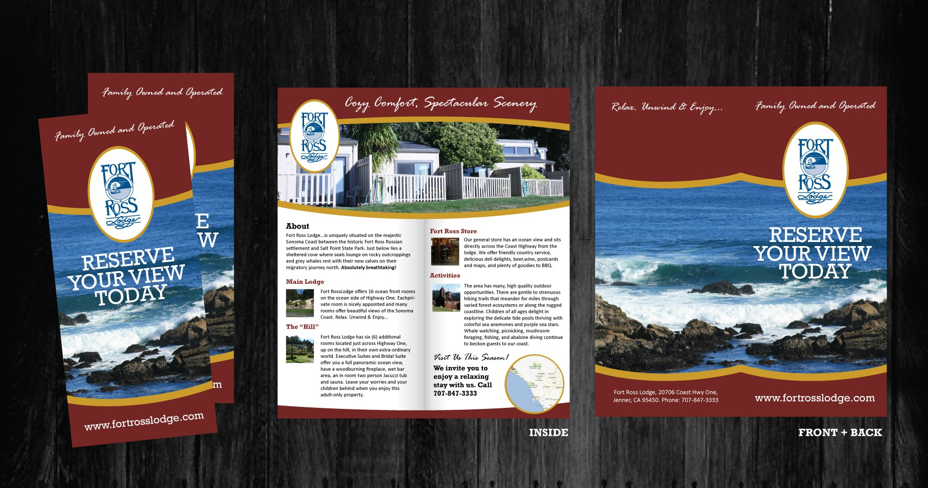 2 Fold brochure design for Fort Ross Lodge