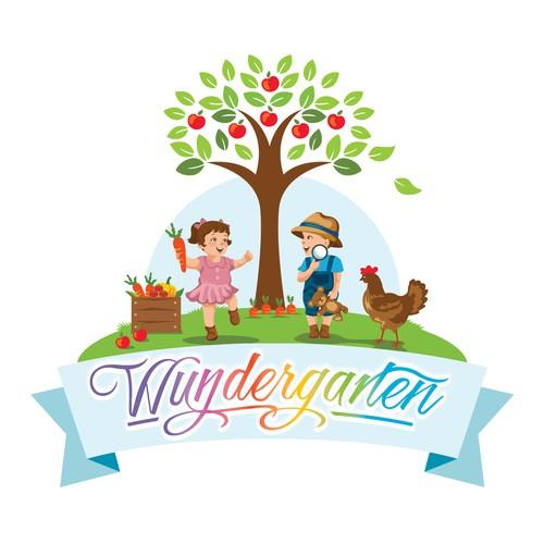 Logo für Kindertagespflege im eigenes Haus mit Garten Rainbow Colours Kinder mit Gesichtern!