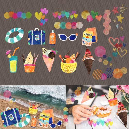 Photo collage app stickers/stamps
