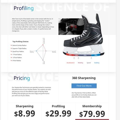 Skate Sharpening Service Landing Page for Skatescription