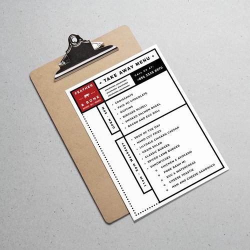 Simple, clean take away menu