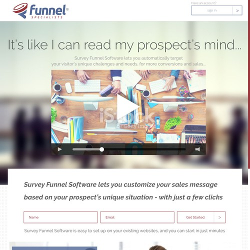 Landing page for marketing funnel software - if you're a kick-ass designer, check this out...