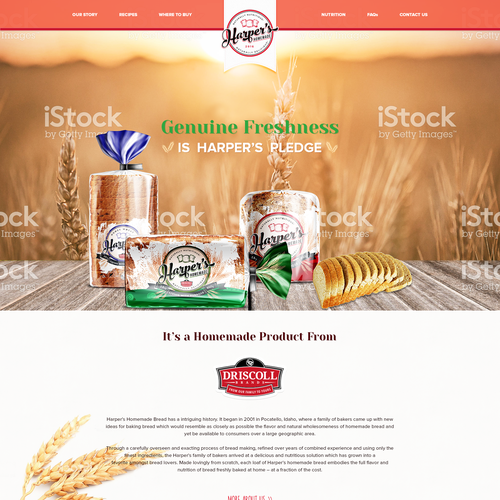 Homepage design for homemade bread industry