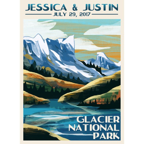 Vintage Glacier National Park Illustration