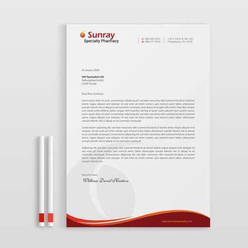 Letterhead Design for Sunray Specialty Pharmacy