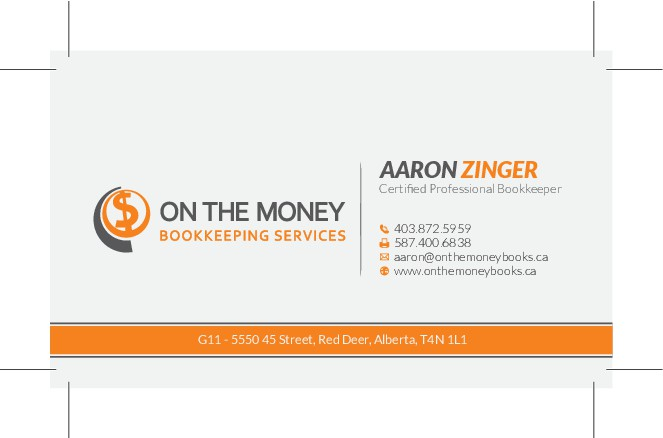 Create a stand-out business card for a professional bookkeeper.