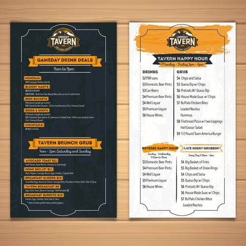 Lookout Tavern menu
