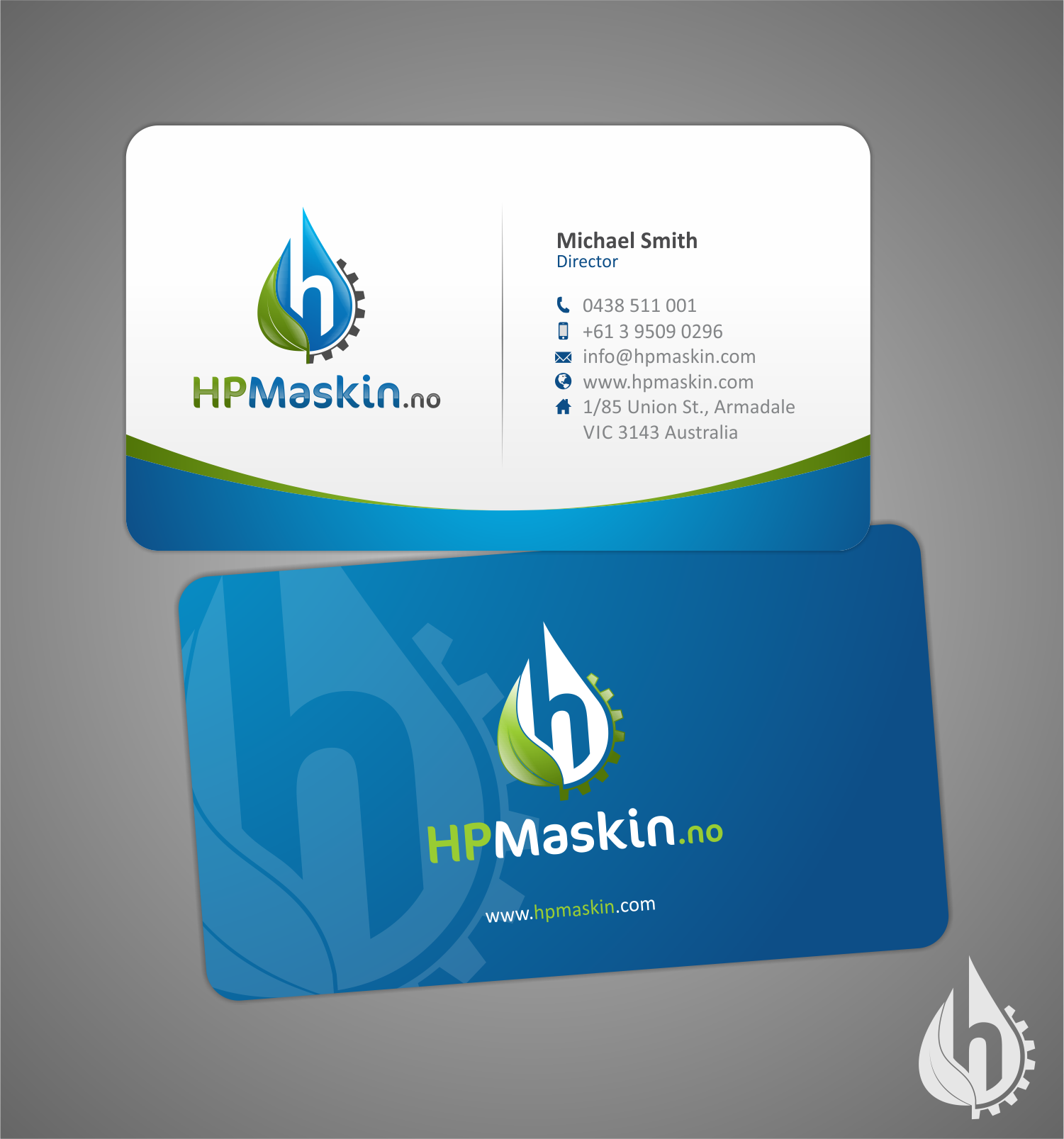 HPMaskin.no needs a new logo and business card