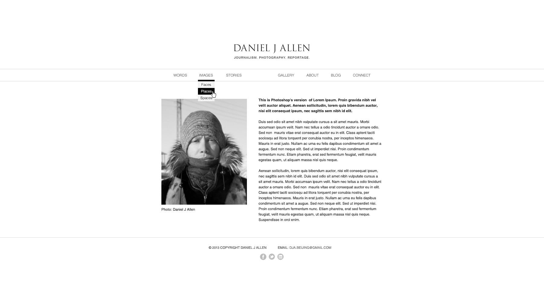 Website Design for Daniel Allen - Writer and Photographer