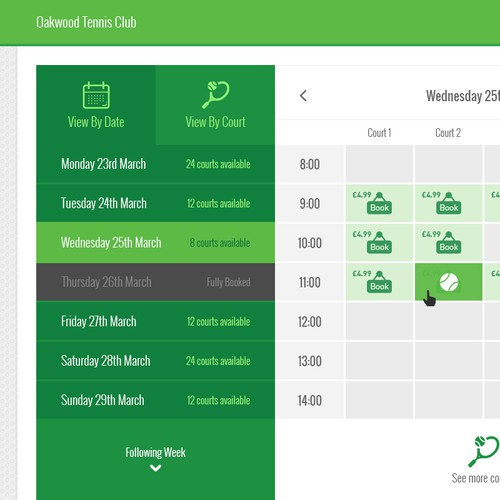 Tennis Booking System - Calendar,modal and checkout