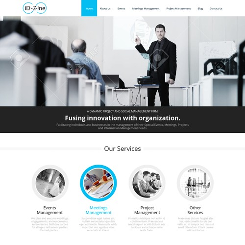 Home page for technology company