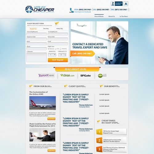 Lets Fly Cheaper needs a new website design