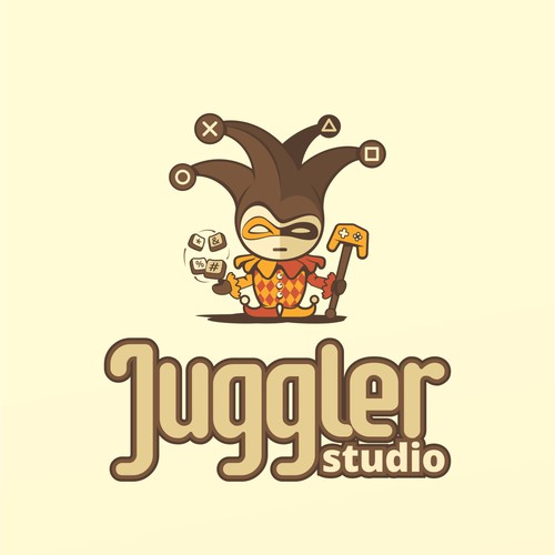 Funny logo for a video game developer with an Harlequin character.