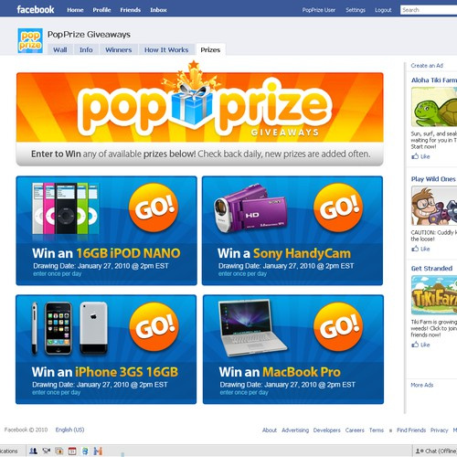Pop Prize - Facebook App and Website to be viewed by Millions