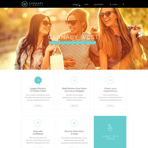 Flat, Modern Web Page Design for a E-Commerce Fashion Company