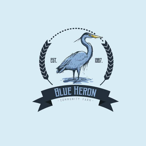 Blue Heron - Vintage illustration logo design