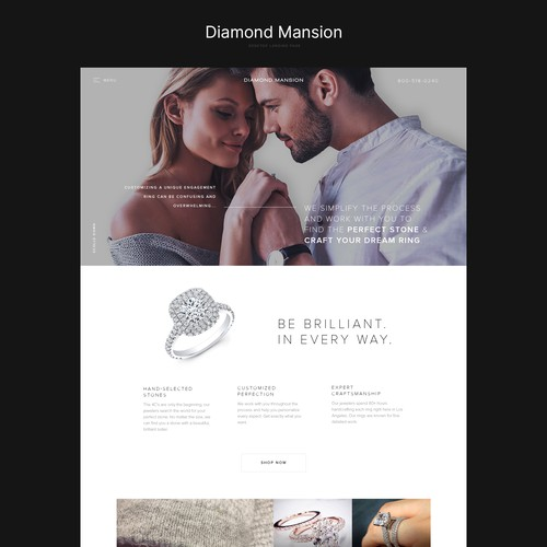 Landing page for jewellery online store