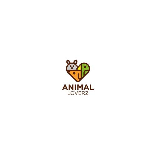 Creative heart shaped logo having animals inside it