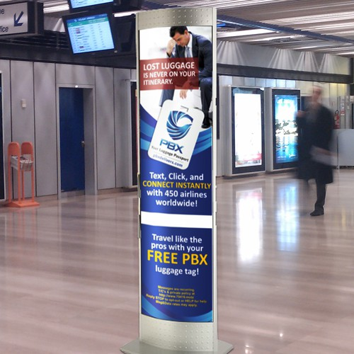 Create a captivating image for PBX's airport kiosk