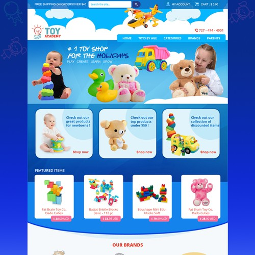 Create a Home Page for an Online Retailer of Toys