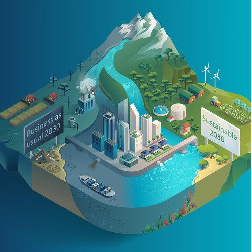 isometric ecology island illustration