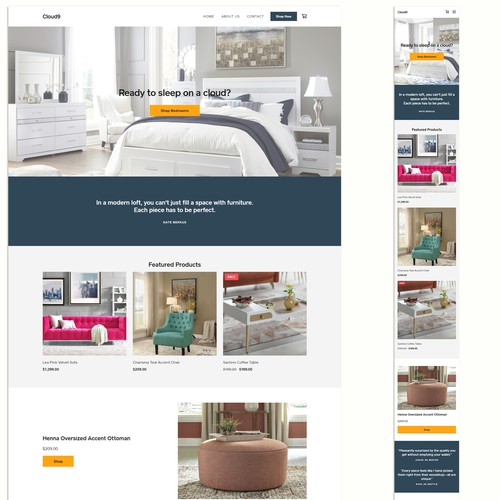 Ecommerce website for a furniture store