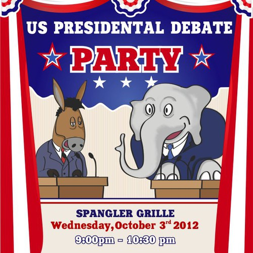 postcard or flyer for Presidential Debate Watching Party