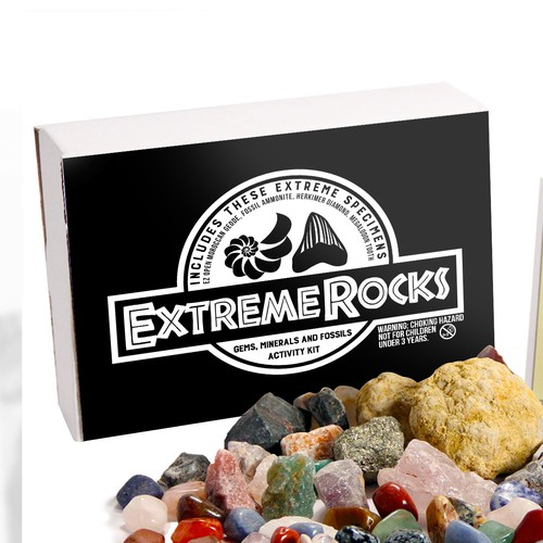 "Label Design Concept for a ""rocks"" kit"