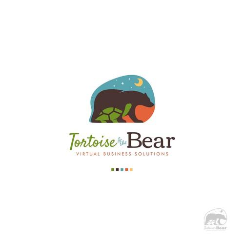 Whimsical logo of Bear and Tortoise