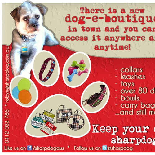 postcard or flyer for Sharp Dog