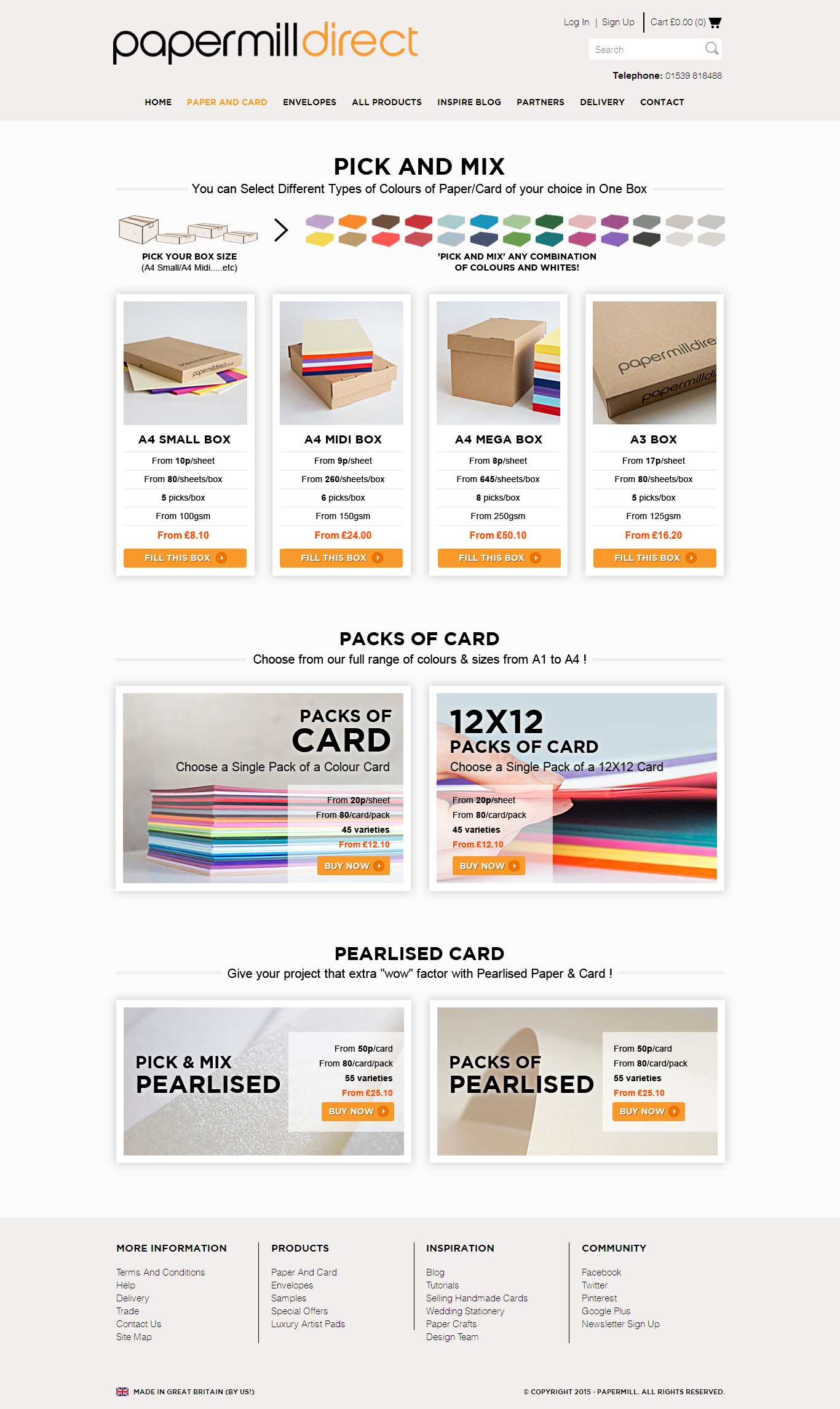 Paper and Card Selection Landing Page