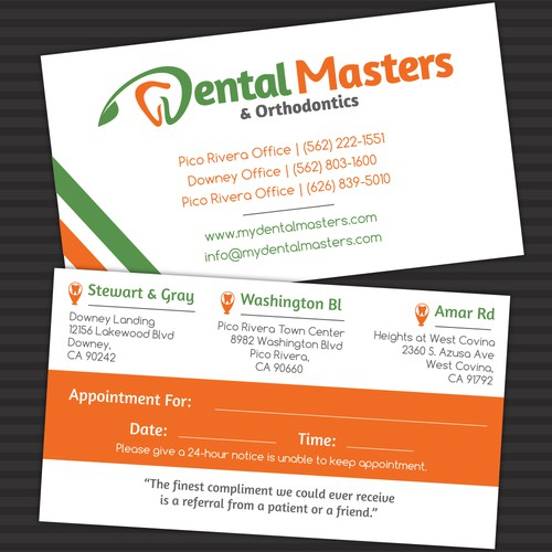 Fresh NEW Dental Masters Business Card
