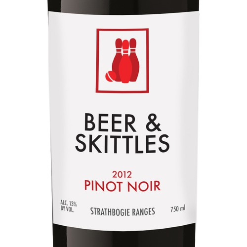 Beer and Skittles wine label