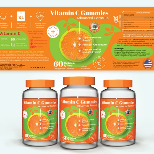 Label design for vitamin C gummies