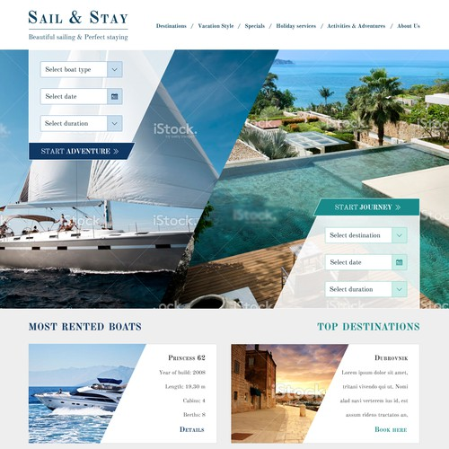 Sail & Stay striking webdesign
