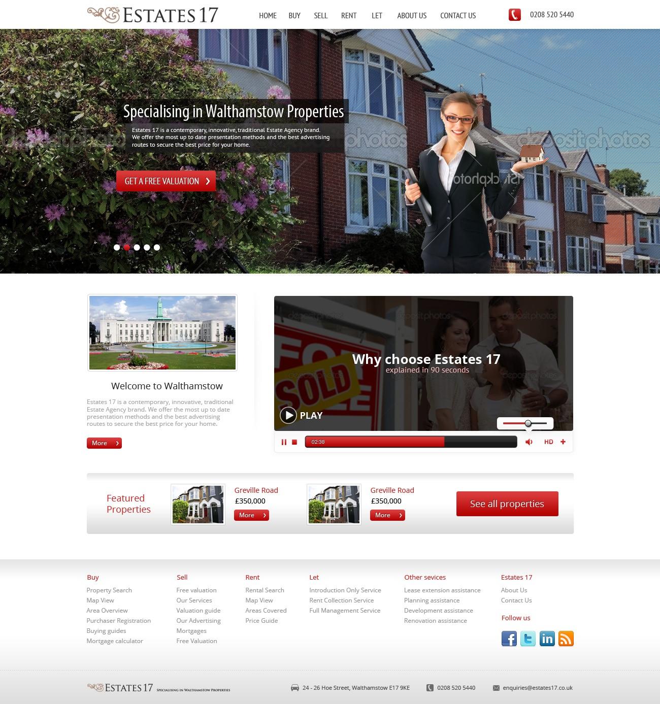 website design for Estates17 [3 pages]