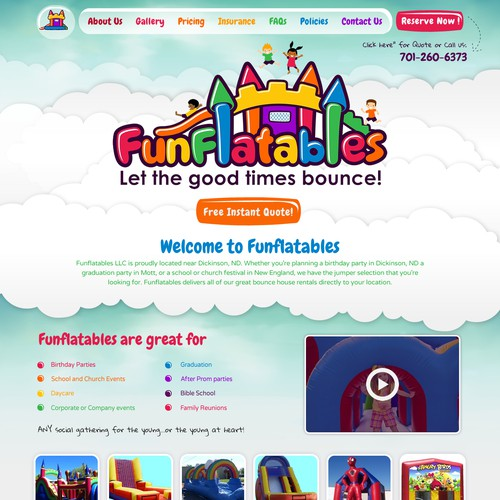 Web Design for Inflatables Company