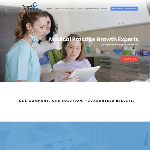 Homepage design for TargetPatientsMD