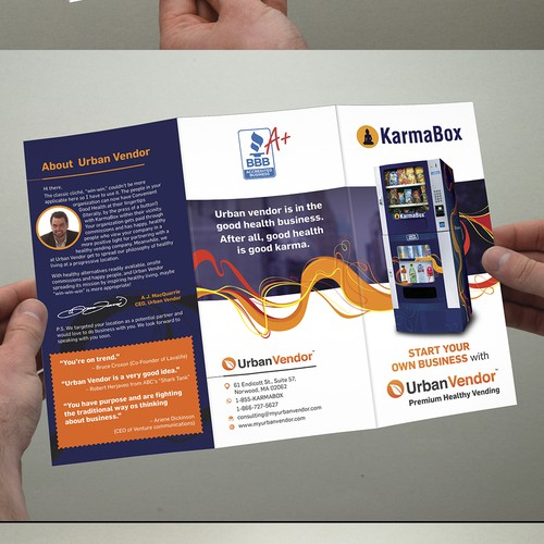 Create a beautiful brochure for our healthy vending location services