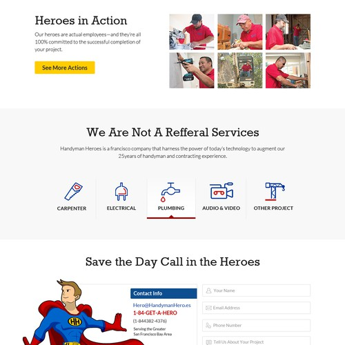 Web Page Design For Handyman Heroes
