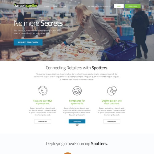2-page website for SmartSpotter: conventional breaking crowdsourcing platform (global retail)