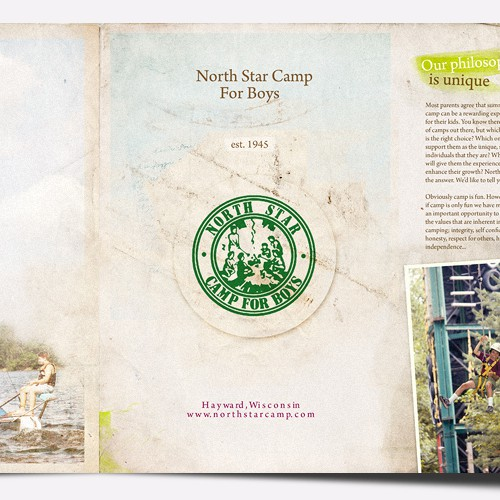 brochure design for North Star Camp for Boys