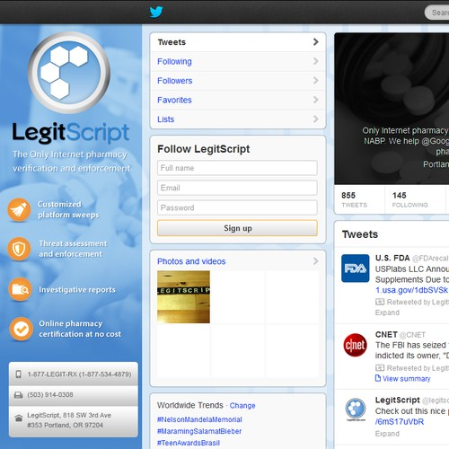 Twitter background and page for a healthcare / cybercrime company!