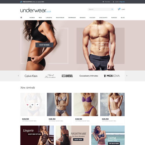Ecommece Design for an Undergarments Company
