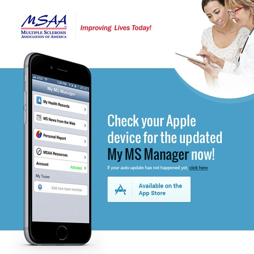 Get people to update to the NEW fabulous app for managing their MS