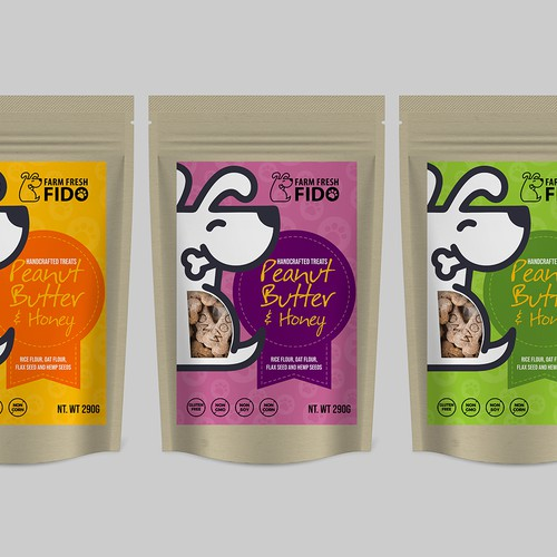 dog treat company .healthy, small batch dog treats Pouch design