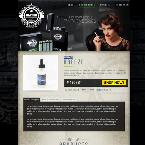 Website for premium electronic cigarette liquid company!